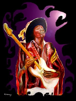 music art paintings featuring jimi hendrix ,  musicians , musical instruments .