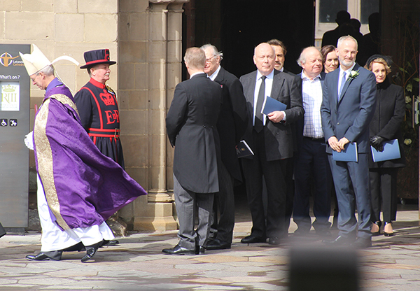 Julian Fellows, Philippa Gregory, Camilla Tominey,  Robert Lindsay, John Sargeant at King Richard III ceremony Leicester by Tom Conway