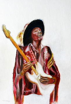 1960s fashion, psychedelic colours illustrated in painting of Jimi hendrix by T J Conway.