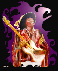 Art and Music, JImi Hendrix purple on black, design based on original painting of Jimi Hendrix