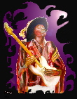 Jimi Hendrix canvas print, purple on black design., digital art based on an original painting of jimi playing guitar by artist Tom Conway