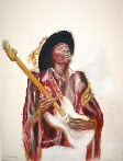 Guitar art. A painting of Jimi Hendrix playing stratocaster guitar from a collection of original art by Tom Conway.