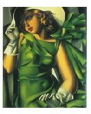 art deco print young girl in green02