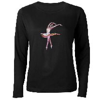 womans long sleeve T shirt with ballerina design