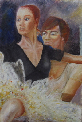 an oil  painting of ballet dancers, by Tom Conway, based on Rudolph Nureyev and ballerina Bryony Brind in La Bayadere