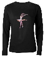 ballet dancewear , womens long sleeve shirt with ballerina design by Tom Conway.