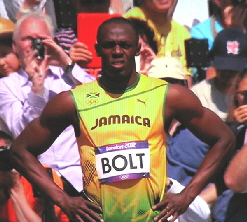 Usain Bolt before the start of preliminary heat mens 100m London 2012