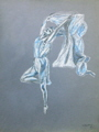 pastel drawings of ballerina in blue by T J Conway