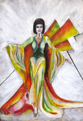 This painting combines a colourful and glamourous dress design based on 1920s fashion with  art deco style  elements.
