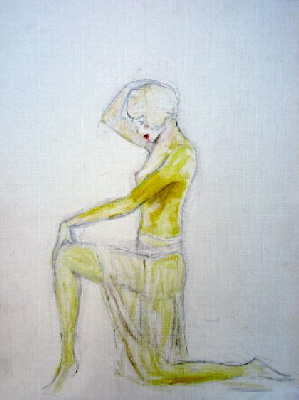 painting of a semi nude female figure, one of a collection of female figure drawings and paintings by Tom Conway