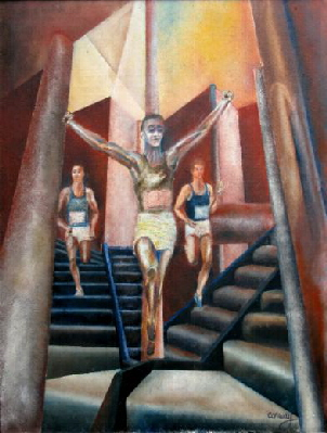 original oil painting based on sports figures , the style combines style elements of surrealism with impressionism and symbolism .