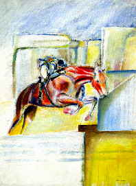 original painting of horse and rider