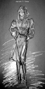 fashion drawing woman in skirt and top