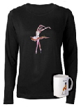 womens top , dancewear with ballet artwork