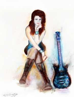 girl in boots with blue guitar, musician relaxing