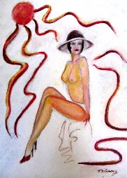 pinup girl  painting titled  'The lady in red high heels' , original painting by T J Conway.