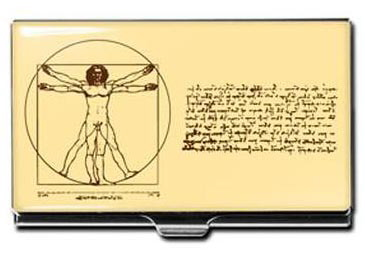 leonardo da vinci business card holder