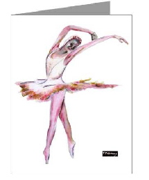 pink ballerina greeting cards