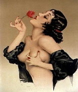 Example of vintage pinup art  by  Alberto Vargas . Beautiful illustration with natural flesh tones and sensual pose with the model holding her breast as she breathes the scent of a flower. Classic glamour model image.