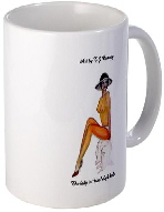 pinup girls gift ceramic mug, semi nude pinup girl wearing stiletto shoes and hat