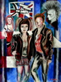 pop art style painting of punk rock music fans,  illustrating hair styles, leather jackets, & tartan clothing by T J Conway