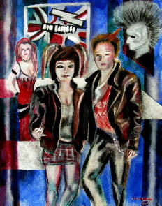 punk rock painting ,   mohawk hair, tartan skirt, studded collar fashion by T J Conway.