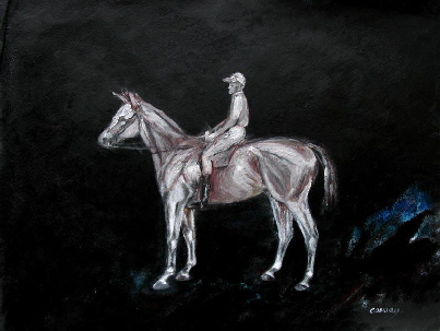horse & jockey drawings and paintings, art print