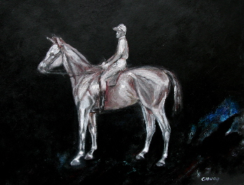 horse art . Painting of a race horse and jockey by T J Conway