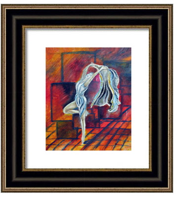 framed dance print, of the oil painting titled ' Radancer'  by T J Conway.