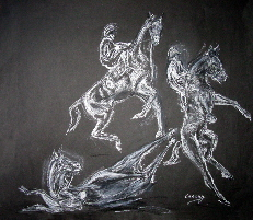 horse drawings,  a rearing horse with rider