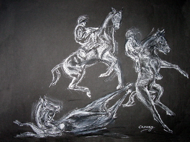 horse drawings. A rearing horse and jockey
