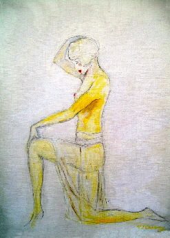 painting of a semi nude female dancer in style of vintage 1920s art deco,  by artist Tom Conway