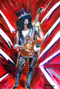painting of ex guns n roses guitarist slash (Saul Hudson) playing gibson guitar.  Superb guitarist also with Slash's Snakepit and Velvet Revolver