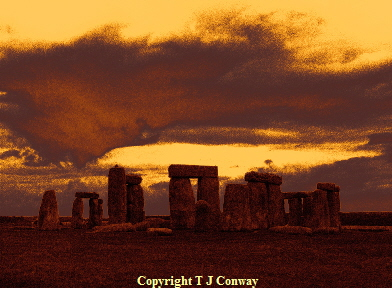 stonehenge , from original photography by T J Conway