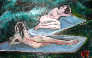 painting of two nude females titled The Beauty of Tranquility Green, by artist T J Conway