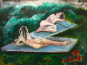 art work showing two nude models, against a green landscape with red flowers