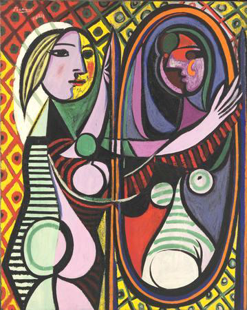 Girl Before a Mirror shows Picasso's young mistress Marie-Thérèse Walter, one of his favorite subjects in the early 1930s.