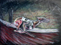 original picture of a racing greyhound in oil pastels
