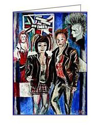 punk rock pop art style greeting card
