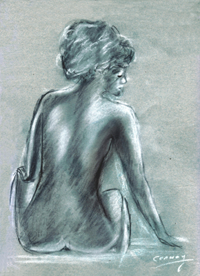 drawing of a seated nude female titled The actress, charcoal .
