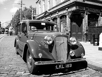 vintage car and English pub black and white  s